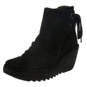 FLY London Black Yama Wedge Ankle Boot